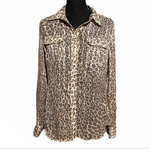 Lucky Brand Animal Print Button Front Top M